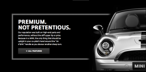A very clear brand message... this is Mini Cooper in a nutshell.